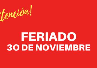 Feriado el día viernes 30 de noviembre