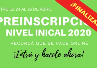 NIVEL INICIAL: Pre-inscripciones 2020  [Finalizada]